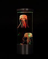 LED нічник-світильник Акваріум з медузами Jellyfish Mood Lamp чорний, фото 2