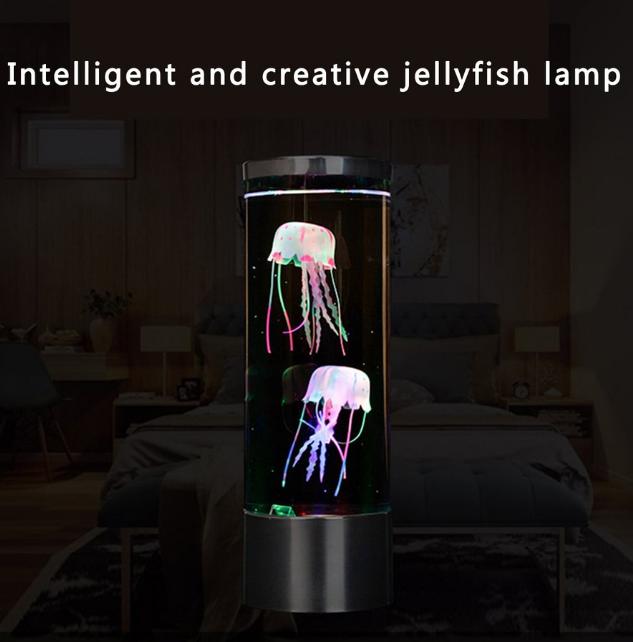 LED нічник-світильник Акваріум з медузами Jellyfish Mood Lamp чорний