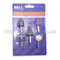 Набор камней шлифовальных на штоке 6 мм (5 шт) RELI (ZP-1006)