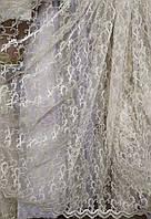 Гардина молочна  з золотою вишивкою на сітці, фото 1