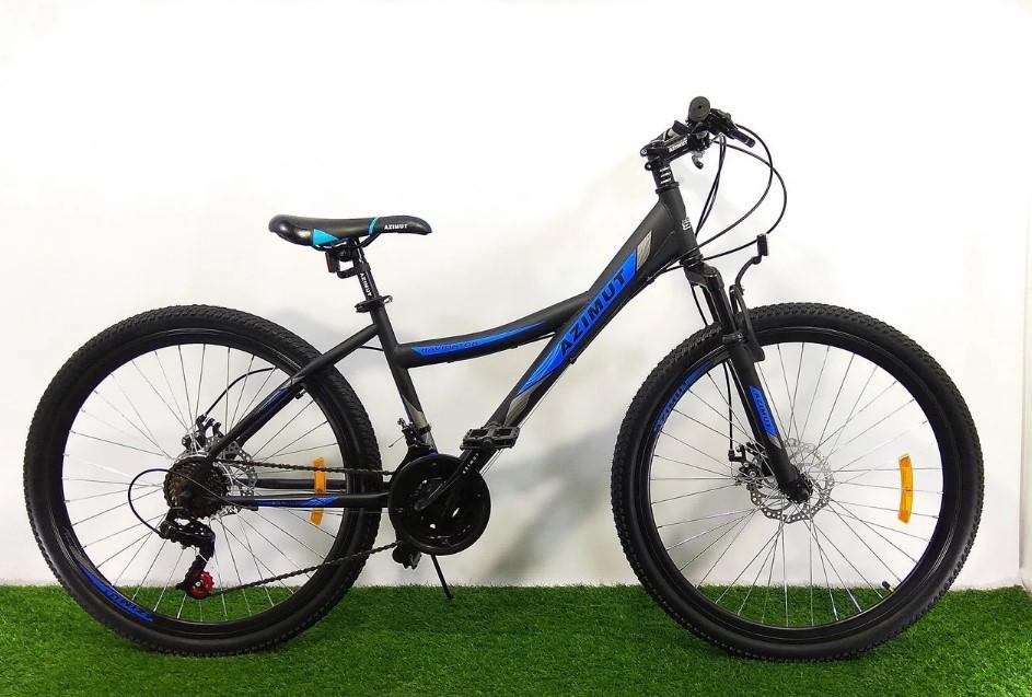 """Підлітковий гірський велосипед Azimut Navigator 24 розмір рами 12"""" чорно-синій"""