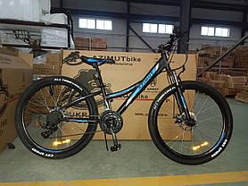 """Підлітковий гірський велосипед Azimut Navigator 24 розмір рами 12"""" чорно-синій, фото 2"""