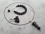 Серьги серебряные натуральный ′Шунгит′, фото 8