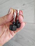 Серьги серебряные натуральный ′Шунгит′, фото 5