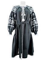 Вышитая черная туника-платье