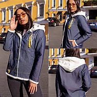 Женская куртка стильная, Материал: джинс плотный, мех кролик (искусственный) (48-58)