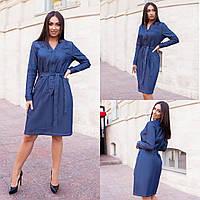 Женское платье,Материал:турецкий джинс, с длинным рукавом и карманами(48-58), фото 1