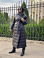 Пальто жіноче Монако зимовий,склад:синтепон 200%, довге з кишенями і капюшоном(з-хл)