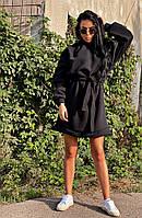 Жіноче плаття hot look,матеріал:трехнить фліс, тепле з довгим рукавом і капюшоном і пояском(с-л), фото 1