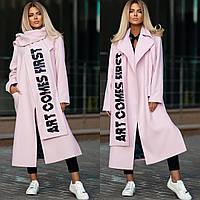 Женское пальто+шарф ткань: кашемир +подклад, длинное с карманами(42-52), фото 1