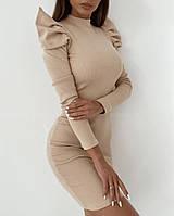 Платье женское стильное, ткань - трикотаж рубчик с длинны рукавом, на рукавах декор(42-48), фото 1
