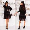 Женское платье стильное,Ткань- шифон-горох, французский трикотаж,свободное платье двойка(42-46)