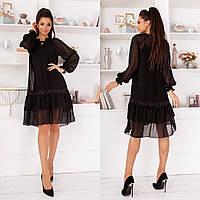 Женское платье стильное,Ткань- шифон-горох, французский трикотаж,свободное платье двойка(42-46), фото 1
