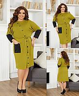 Жіноче плаття стильне,Тканина - французскй трикотаж,Оригінальне м'яке сукню, з оздоблювальними рукавами(48-58), фото 1