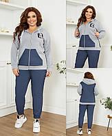 Жіночий костюм,тканина - 3х-нитка + джинс бенгалин на флісі, капюшон зі шнурком, штанці на широкій, фото 1