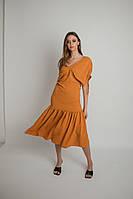Женское платье стильное,Материал жатый хлопок с вискозой,однотонное с короткими рукавами(42-48), фото 1