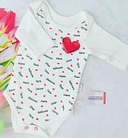 Детский бодик 62-86 см. для девочки из белого хлопка с длинным рукавом и красными сердечками