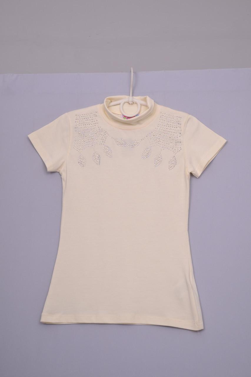 Л-223 блуза-гольф для дівчинки з коротким рукавом Бежевий, 134 140 і 152 зростання