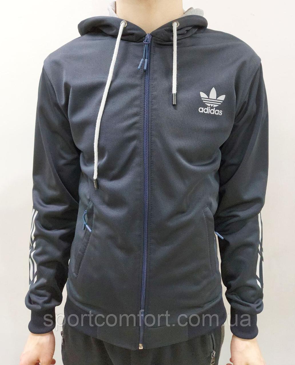 Толстовка мужская Adidas синяя ластик