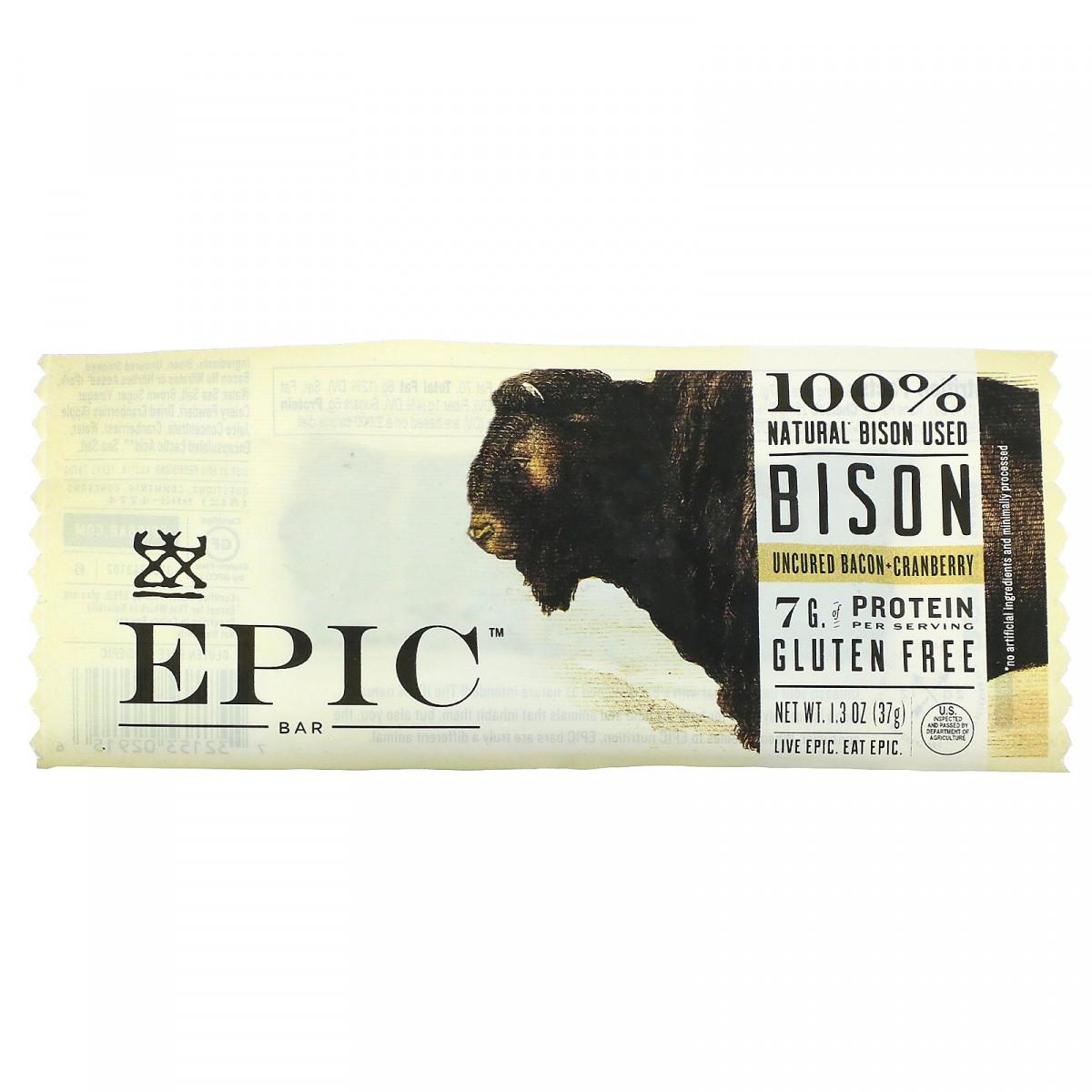 Бизон, необработанный бекон + клюква, Bison, Uncured Bacon + Cranberry, Epic Bar, 1 батончик, 37 г (1,3 унции)