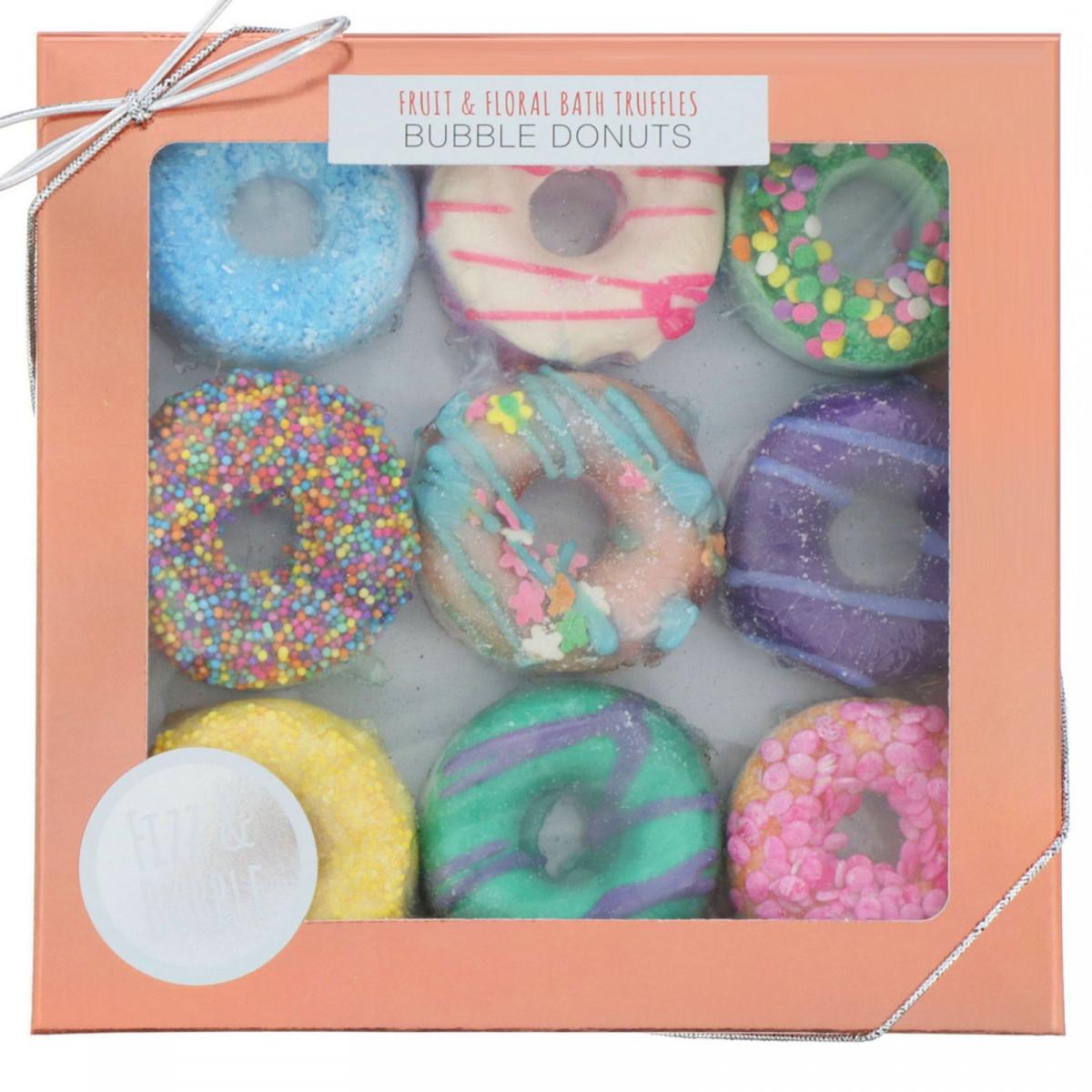 Бомбочки для ванны в форме пончиков на основе фруктовых и растительных компонентов, Fizz & Bubble, 262 г (9,25