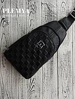 Мужская сумка слинг Louis Vuitton / Мужские сумки барсетка луи витон / клатч кожаный черный