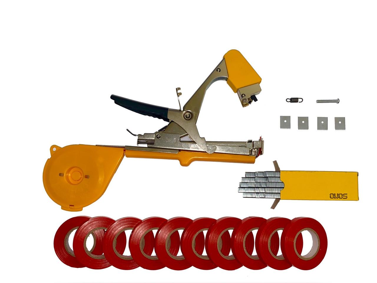 Степлер для підв'язки рослин Tape Tool для обв'язки винограду, помідорів, огірків дерев кольорів