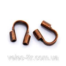 Зажим Протектор ювелирного тросика Медь 5х6 мм 10 шт