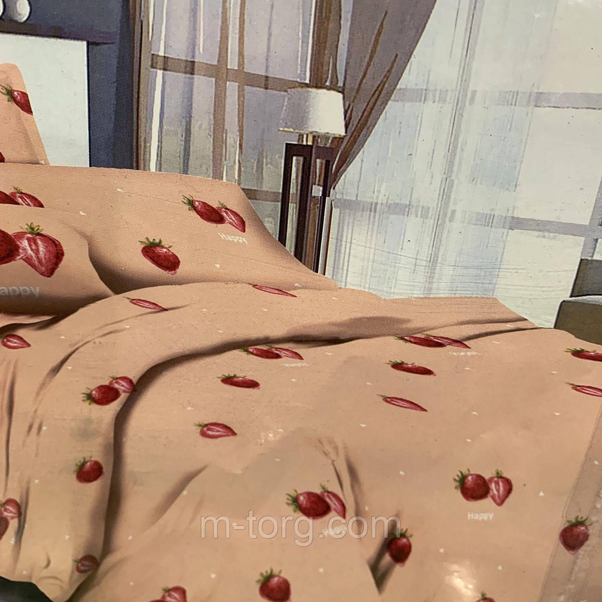 """""""полуниця"""" комплект постільної білизни полуторний 150/210 см, нав-ки 70/70, тканина сатин, 100% складається з бавовни"""