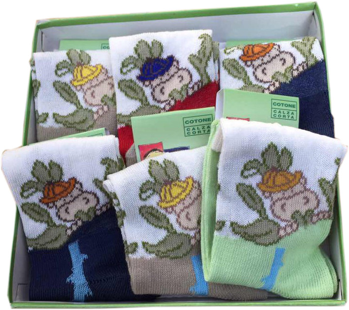 Детские носочки для мальчика 100 хлопок LECOBAR Италия 21/22 (1.5-2 года) 23/24 (2-2.5 года) набор 6 шт