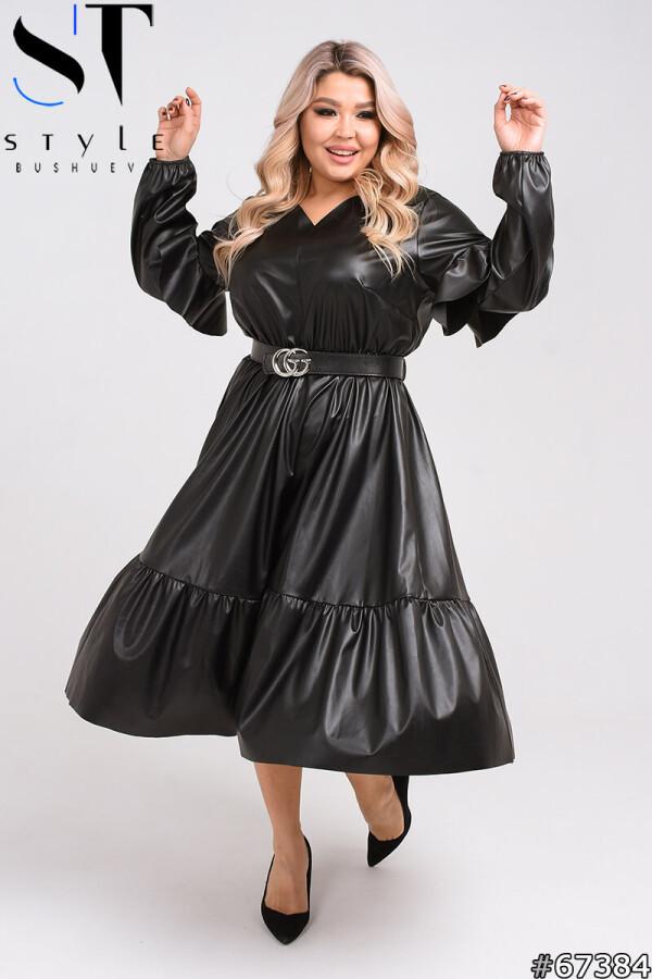 Вечірня сукня з екокожі з широким воланом   чорний   р-р 50-52,54-56,58-60