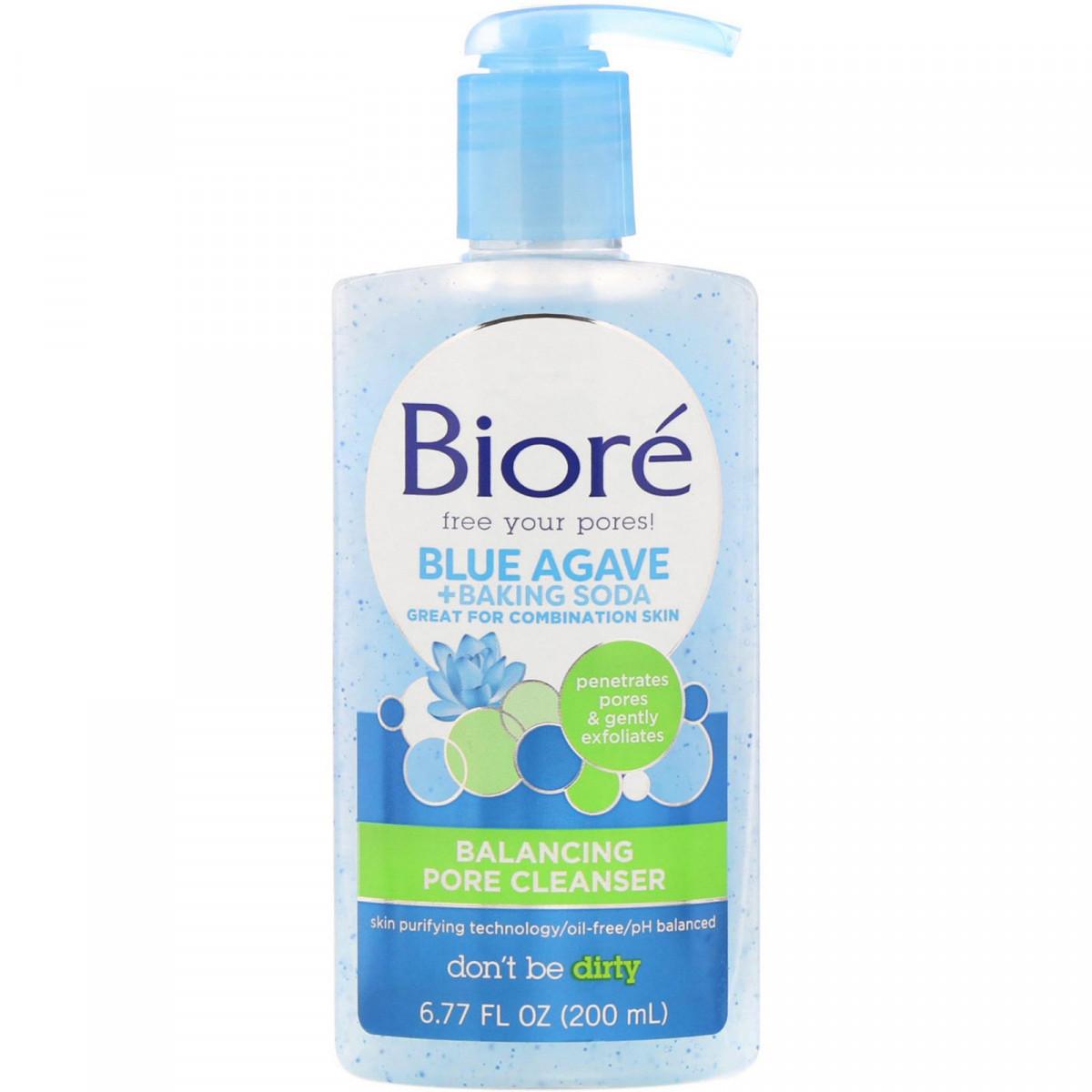 Балансирующее средство для очистки пор «Голубая агава + сода», Biore, 200 мл