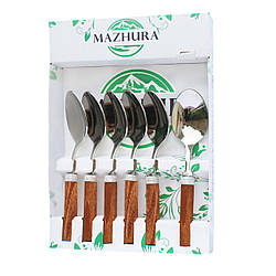 Набор ложек закусочных 6 приборов Wood walnut mz506095 MAZHURA