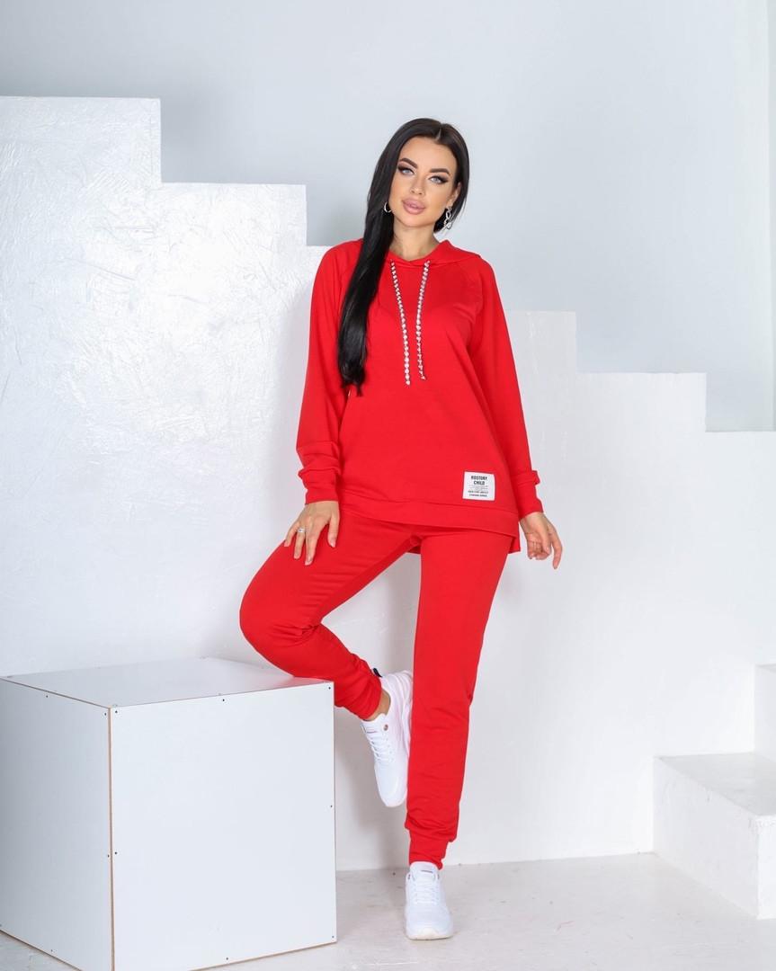 Женский спортивный костюм, трикотаж -  двунить, р-р 42-44; 46-48; 50-52 (красный)