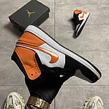 Жіночі кросівки Nike Air Jordan 1 White Black Orange, фото 2