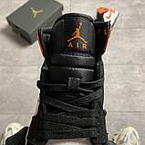Жіночі кросівки Nike Air Jordan 1 White Black Orange, фото 4