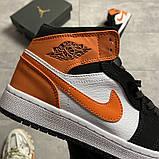 Жіночі кросівки Nike Air Jordan 1 White Black Orange, фото 5
