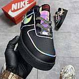 Мужские/Женские кроссовки Nike Air Force Low Black Reflective, фото 2