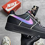 Мужские/Женские кроссовки Nike Air Force Low Black Reflective, фото 3