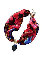 """Стильне жіноче кольє """"малиновий сад"""" від my scarf, 100% шовк, стильний чокер"""