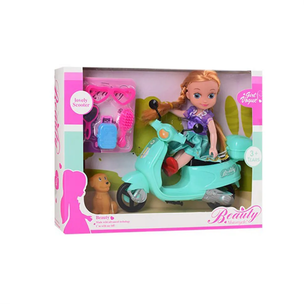Лялька на мопеді , в коробці 925- (Лялька 925-63(Turquoise) 15см, мопед,тварина,окуляри,гребінець,валіза, в