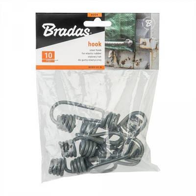 Стальной крючок, серый, BUNGEE CORD HOOK, 10шт, BCDIY-H1-B