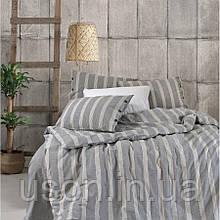Комплект постельного белья Barine Washed cotton Luke Bond antrasit антрацит евро