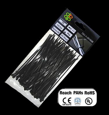 Кабельні Стяжки, пластикові, UV BLACK, 7,6*250 мм, TS1176250B