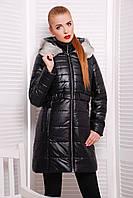 Теплое женское пальто до колен с капюшоном и мехом, фото 1