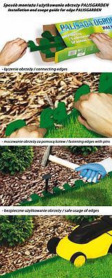 Бордюр газонный PALISGARDEN 75м, набор-125 элементов  / 60 см*38мм+300 колышков GeoPEG, зеленый, OBP