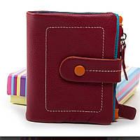 Жіночий шкіряний гаманець 9x11x3 бордо, фото 1