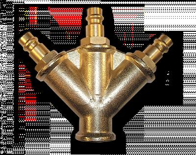 Тройник с адаптерами - латунь, SP027