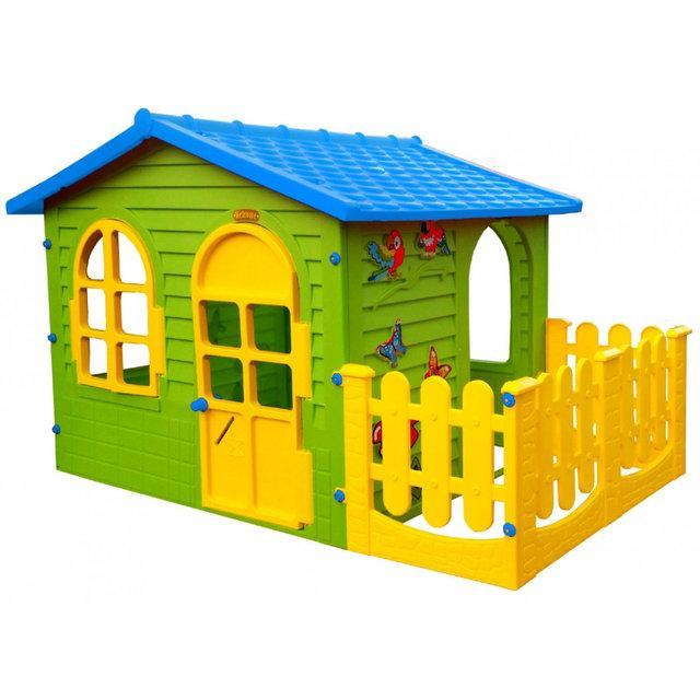 Дитячий ігровий будиночок MOCHTOYS з терасою і синім дахом (ігровий будиночок для вулиці і вдома)