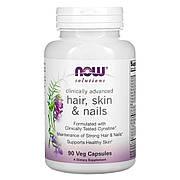 Витамины для Кожи, Волос и Ногтей, Hair, Skin & Nails, Now Foods, 90 вегетарианских капсул